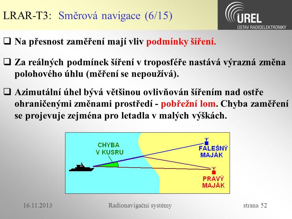 16.11.2013Radionavigační systémy strana 52 LRAR-T3: Směrová navigace (6/15)  Na přesnost zaměření mají vliv podmínky šíření.  Za reálných podmínek š