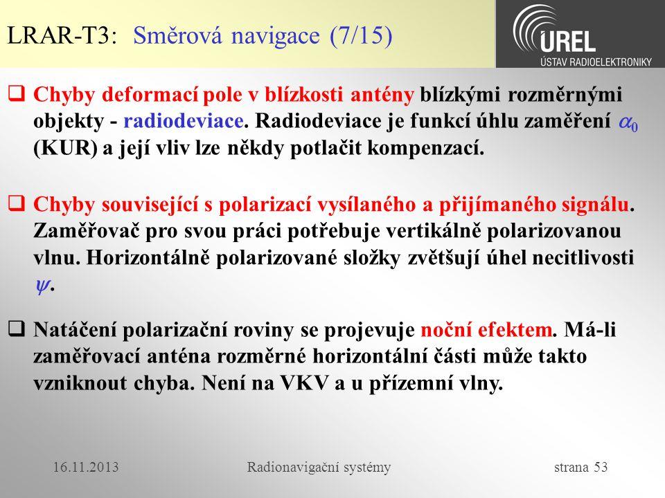 16.11.2013Radionavigační systémy strana 53 LRAR-T3: Směrová navigace (7/15)  Chyby deformací pole v blízkosti antény blízkými rozměrnými objekty - ra
