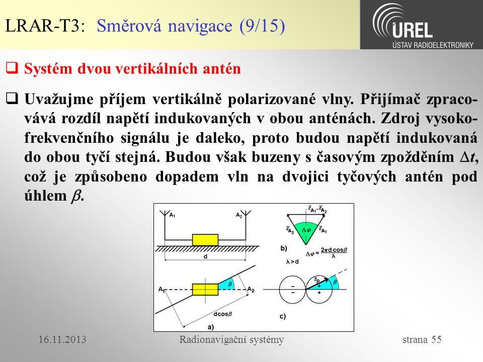 16.11.2013Radionavigační systémy strana 55 LRAR-T3: Směrová navigace (9/15)  Systém dvou vertikálních antén  Uvažujme příjem vertikálně polarizované