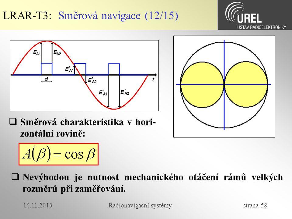 16.11.2013Radionavigační systémy strana 58 LRAR-T3: Směrová navigace (12/15)  Směrová charakteristika v hori- zontální rovině:  Nevýhodou je nutnost