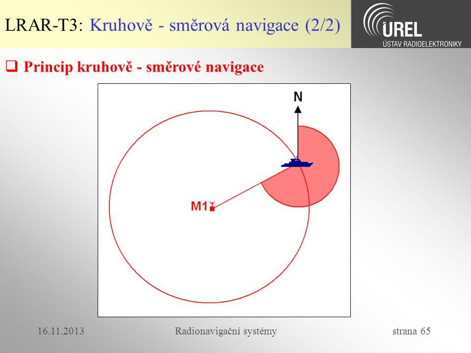 16.11.2013Radionavigační systémy strana 65 LRAR-T3: Kruhově - směrová navigace (2/2)  Princip kruhově - směrové navigace