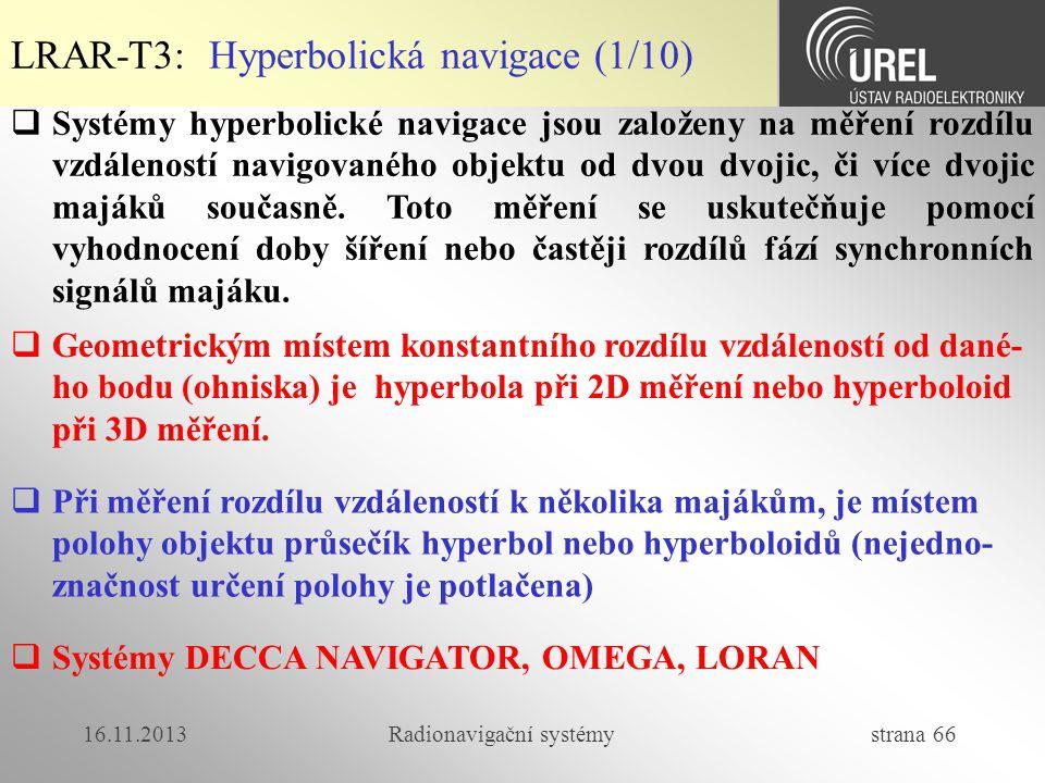 16.11.2013Radionavigační systémy strana 66  Systémy hyperbolické navigace jsou založeny na měření rozdílu vzdáleností navigovaného objektu od dvou dv