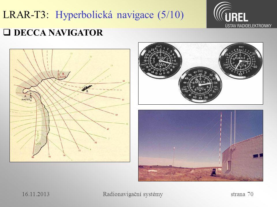 16.11.2013Radionavigační systémy strana 70  DECCA NAVIGATOR LRAR-T3: Hyperbolická navigace (5/10)