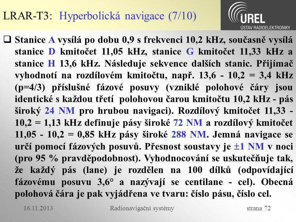 16.11.2013Radionavigační systémy strana 72  Stanice A vysílá po dobu 0,9 s frekvenci 10,2 kHz, současně vysílá stanice D kmitočet 11,05 kHz, stanice