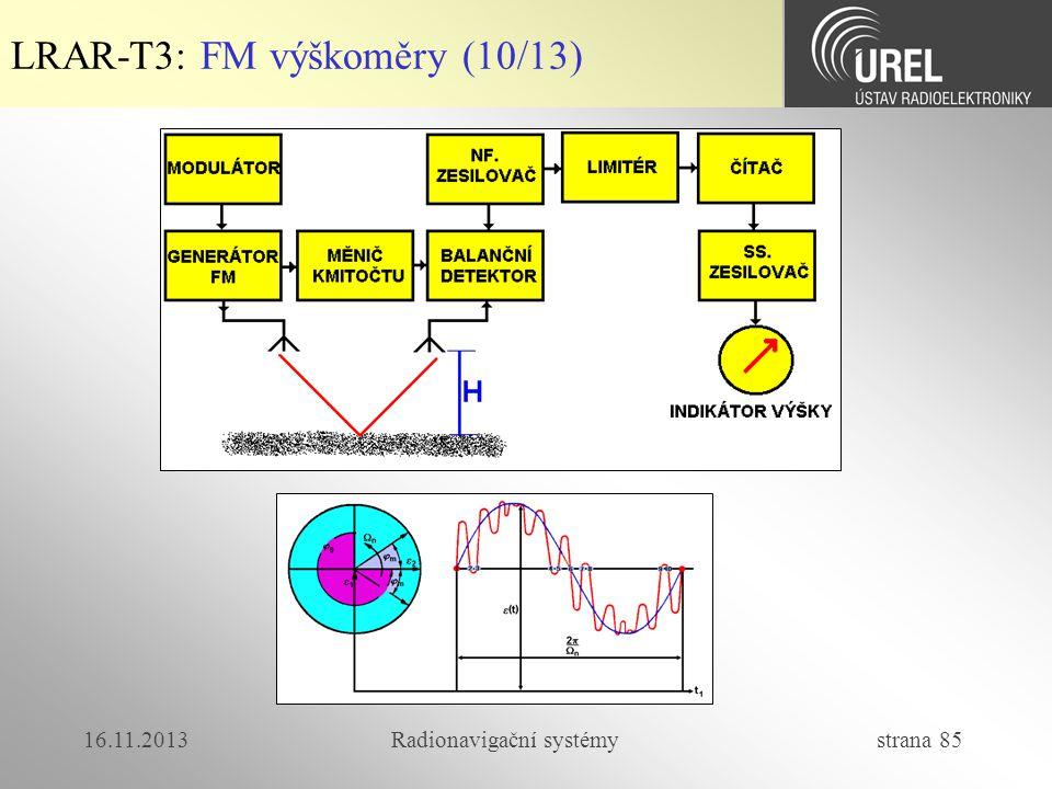 16.11.2013Radionavigační systémy strana 85 LRAR-T3: FM výškoměry (10/13)