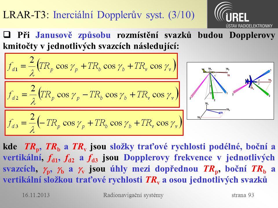 16.11.2013Radionavigační systémy strana 93 LRAR-T3: Inerciální Dopplerův syst. (3/10)  Při Janusově způsobu rozmístění svazků budou Dopplerovy kmitoč