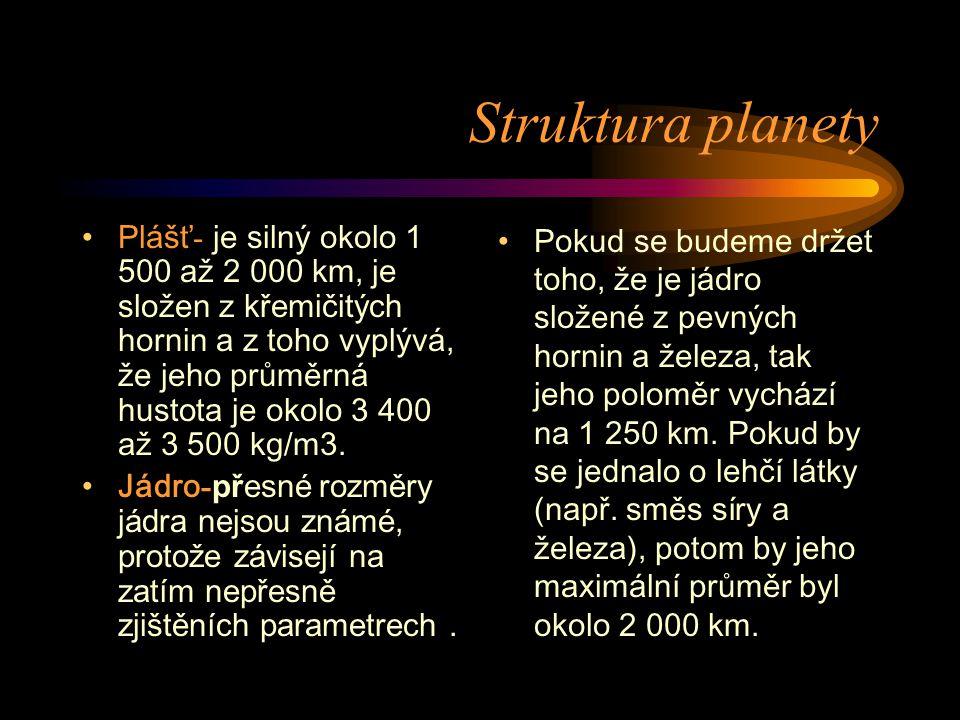 Struktura planety Plášť - je silný okolo 1 500 až 2 000 km, je složen z křemičitých hornin a z toho vyplývá, že jeho průměrná hustota je okolo 3 400 a
