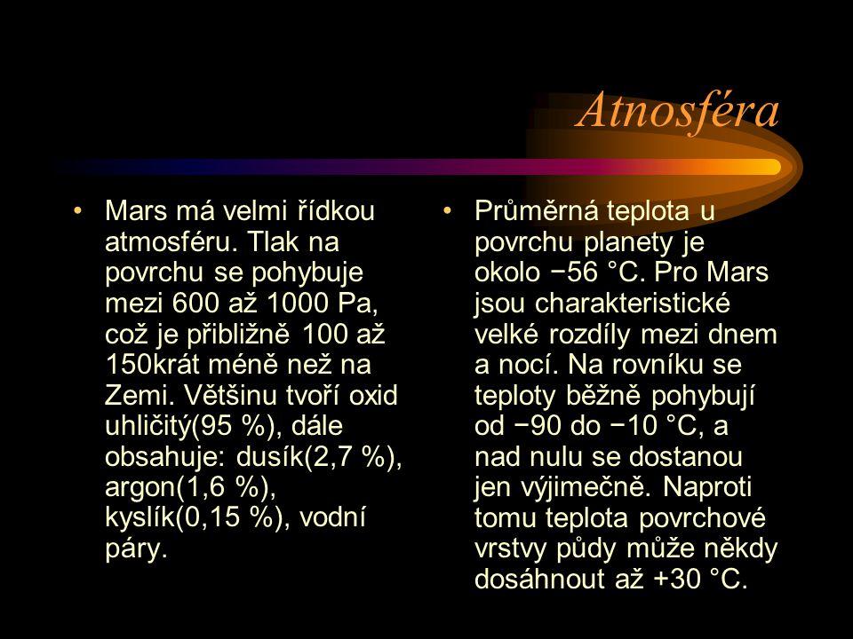 Atnosféra Mars má velmi řídkou atmosféru. Tlak na povrchu se pohybuje mezi 600 až 1000 Pa, což je přibližně 100 až 150krát méně než na Zemi. Většinu t