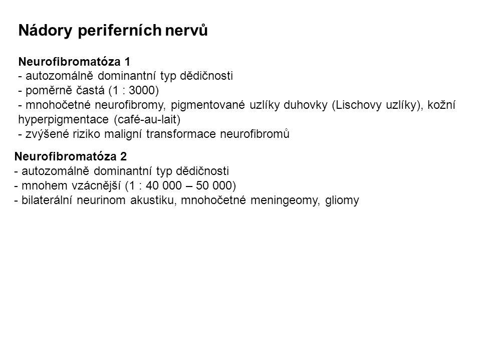 Nádory periferních nervů Neurofibromatóza 1 - autozomálně dominantní typ dědičnosti - poměrně častá (1 : 3000) - mnohočetné neurofibromy, pigmentované