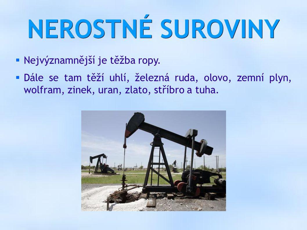 NEROSTNÉ SUROVINY  Nejvýznamnější je těžba ropy.  Dále se tam těží uhlí, železná ruda, olovo, zemní plyn, wolfram, zinek, uran, zlato, stříbro a tuh