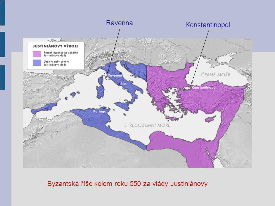 Byzantská říše kolem roku 550 za vlády Justiniánovy Ravenna Konstantinopol