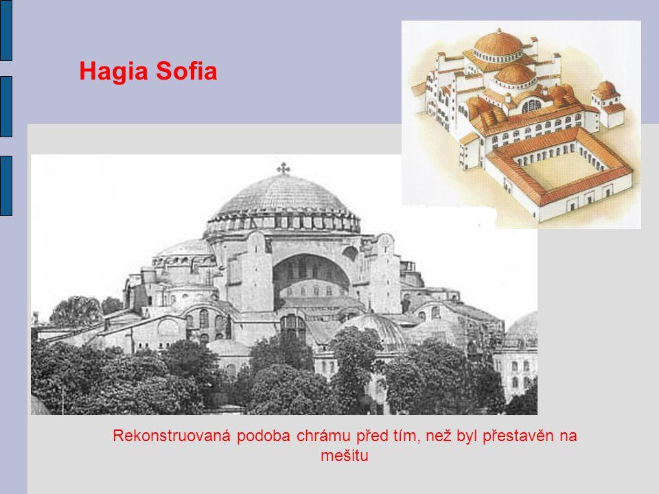 Rekonstruovaná podoba chrámu před tím, než byl přestavěn na mešitu Hagia Sofia