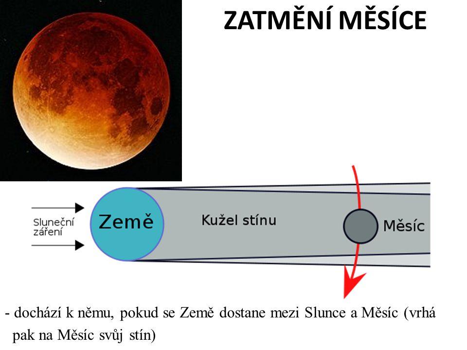 ZATMĚNÍ MĚSÍCE - dochází k němu, pokud se Země dostane mezi Slunce a Měsíc (vrhá pak na Měsíc svůj stín)