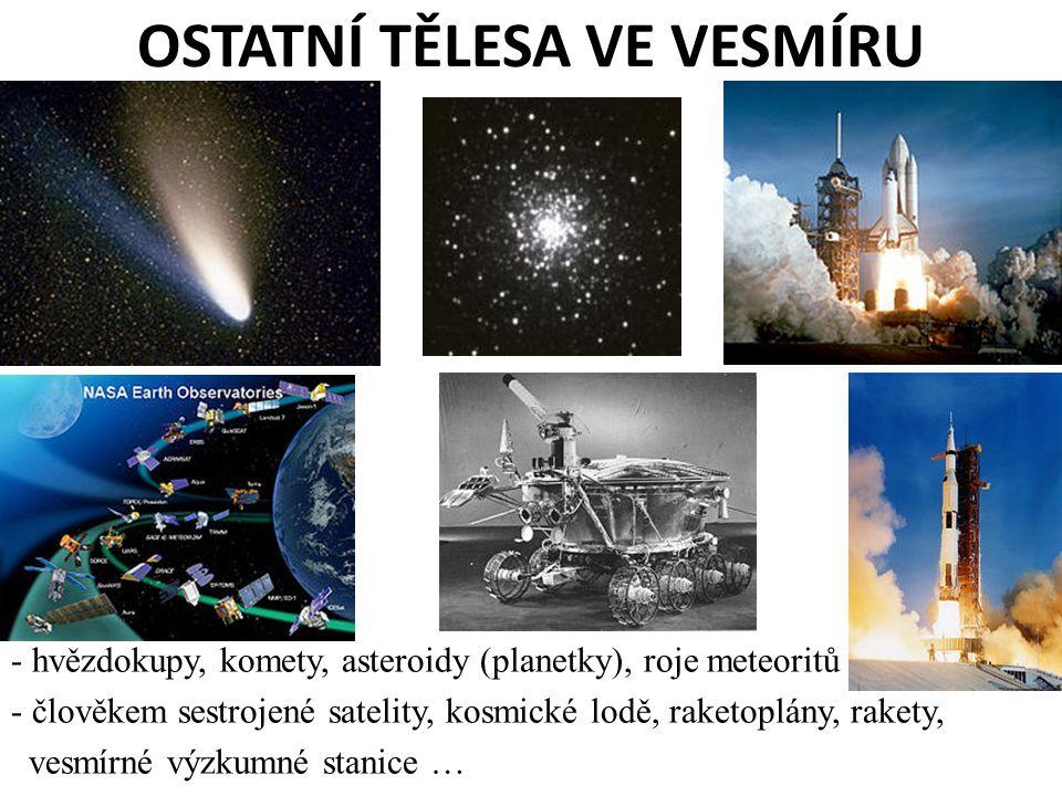 OSTATNÍ TĚLESA VE VESMÍRU - hvězdokupy, komety, asteroidy (planetky), roje meteoritů - člověkem sestrojené satelity, kosmické lodě, raketoplány, raket