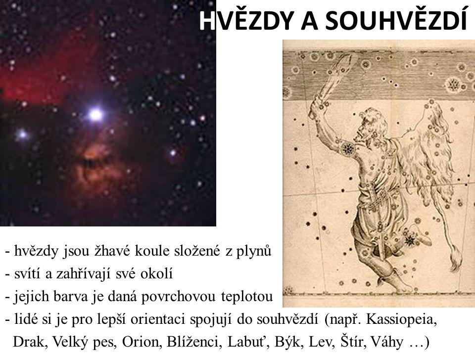 HVĚZDY A SOUHVĚZDÍ - hvězdy jsou žhavé koule složené z plynů - svítí a zahřívají své okolí - jejich barva je daná povrchovou teplotou - lidé si je pro