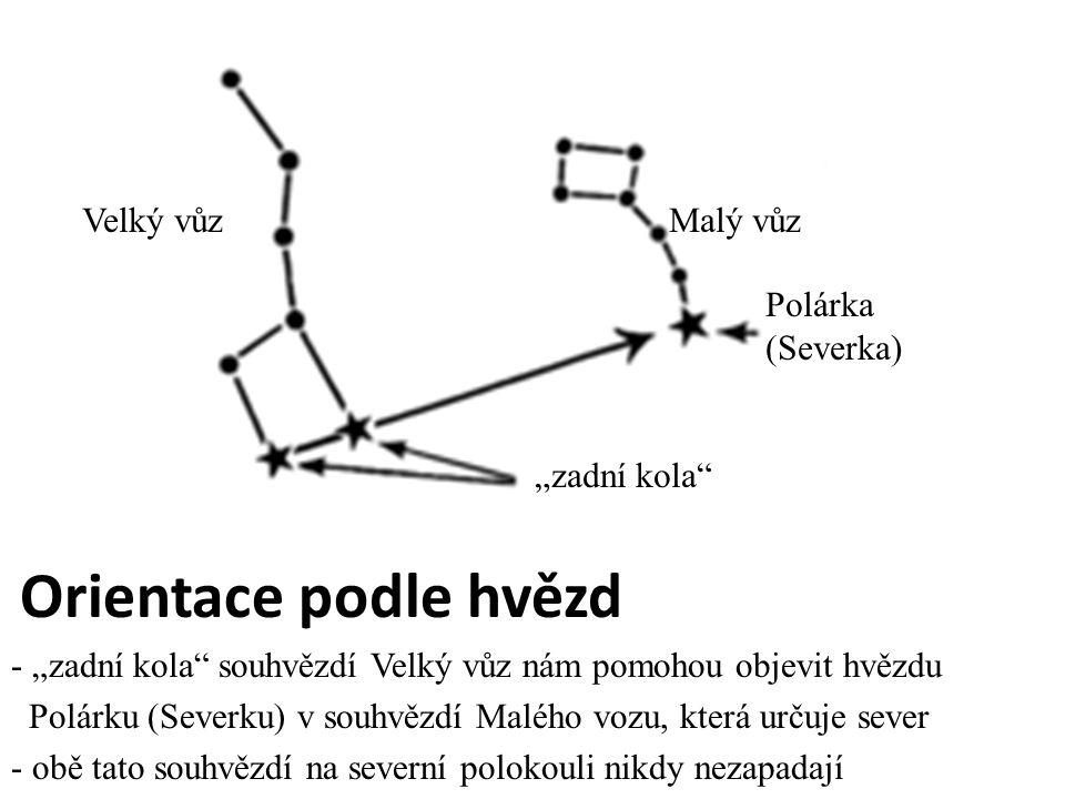 """Velký vůz Malý vůz Polárka (Severka) """"zadní kola"""" Orientace podle hvězd - """"zadní kola"""" souhvězdí Velký vůz nám pomohou objevit hvězdu Polárku (Severku"""