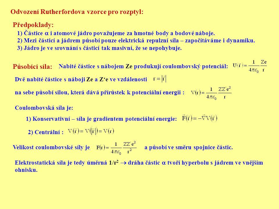 Odvození Rutherfordova vzorce pro rozptyl: Předpoklady: 1) Částice  i atomové jádro považujeme za hmotné body a bodové náboje. 2) Mezi částicí a jádr
