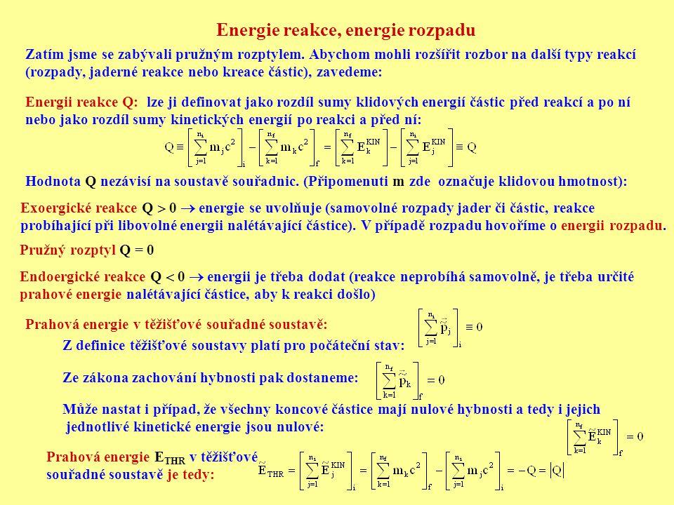 Energie reakce, energie rozpadu Zatím jsme se zabývali pružným rozptylem. Abychom mohli rozšířit rozbor na další typy reakcí (rozpady, jaderné reakce