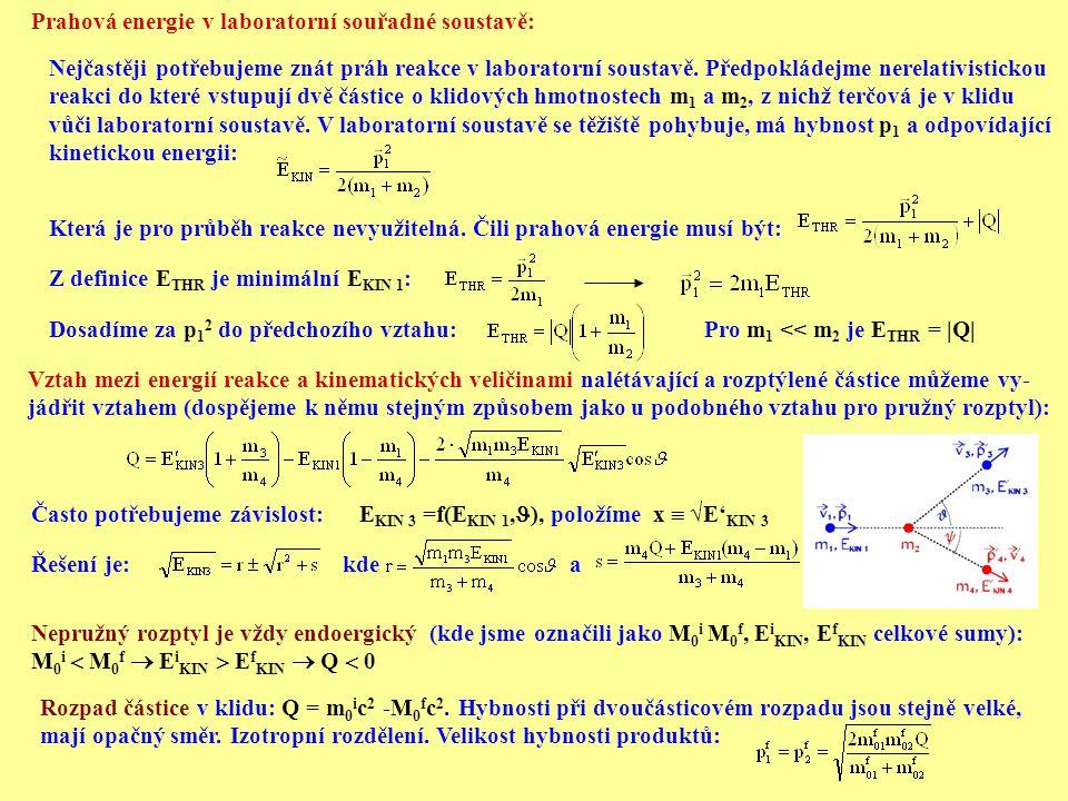 Prahová energie v laboratorní souřadné soustavě: Nejčastěji potřebujeme znát práh reakce v laboratorní soustavě. Předpokládejme nerelativistickou reak