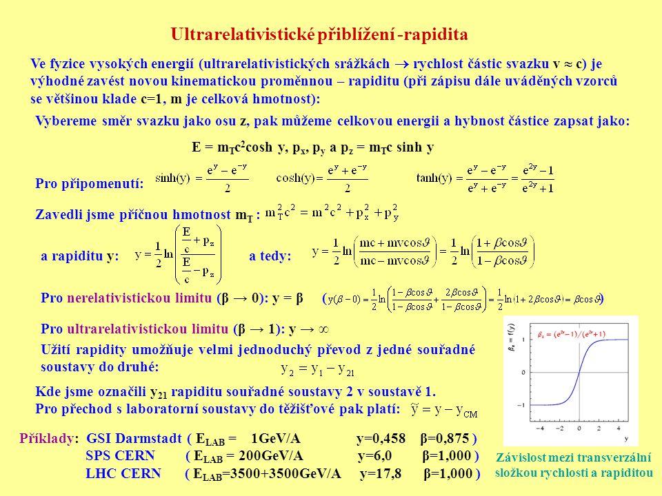Ultrarelativistické přiblížení -rapidita Ve fyzice vysokých energií (ultrarelativistických srážkách  rychlost částic svazku v  c) je výhodné zavést