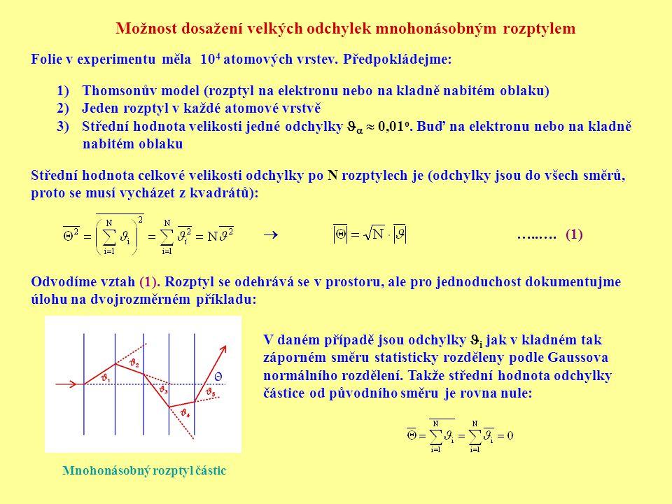 Možnost dosažení velkých odchylek mnohonásobným rozptylem Folie v experimentu měla 10 4 atomových vrstev. Předpokládejme: 1)Thomsonův model (rozptyl n
