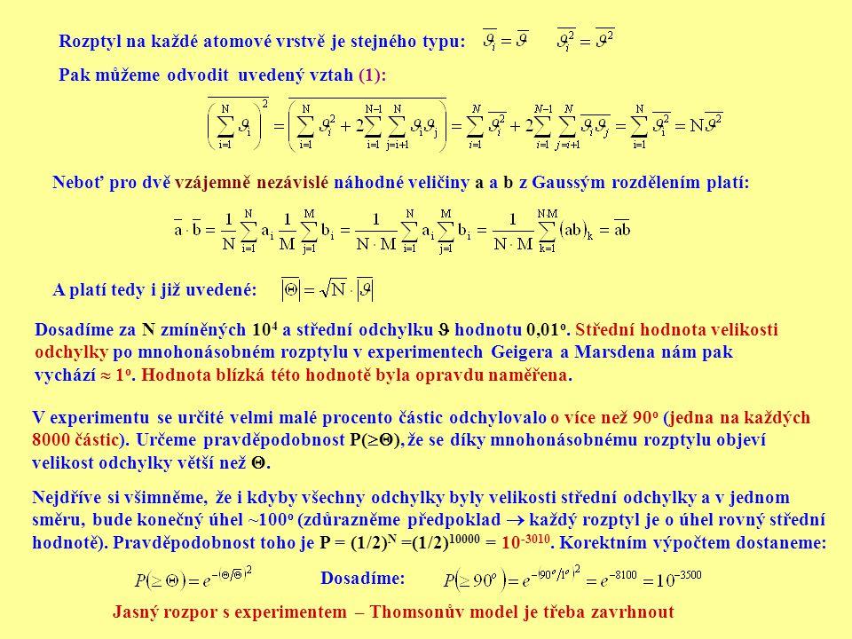 Rozptyl na každé atomové vrstvě je stejného typu: Pak můžeme odvodit uvedený vztah (1): Neboť pro dvě vzájemně nezávislé náhodné veličiny a a b z Gaus