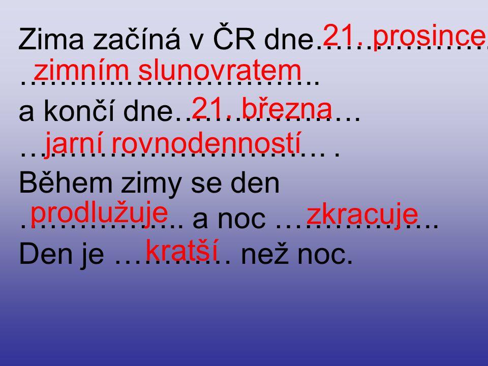 Zima začíná v ČR dne……………….………..……………….. a končí dne……………….