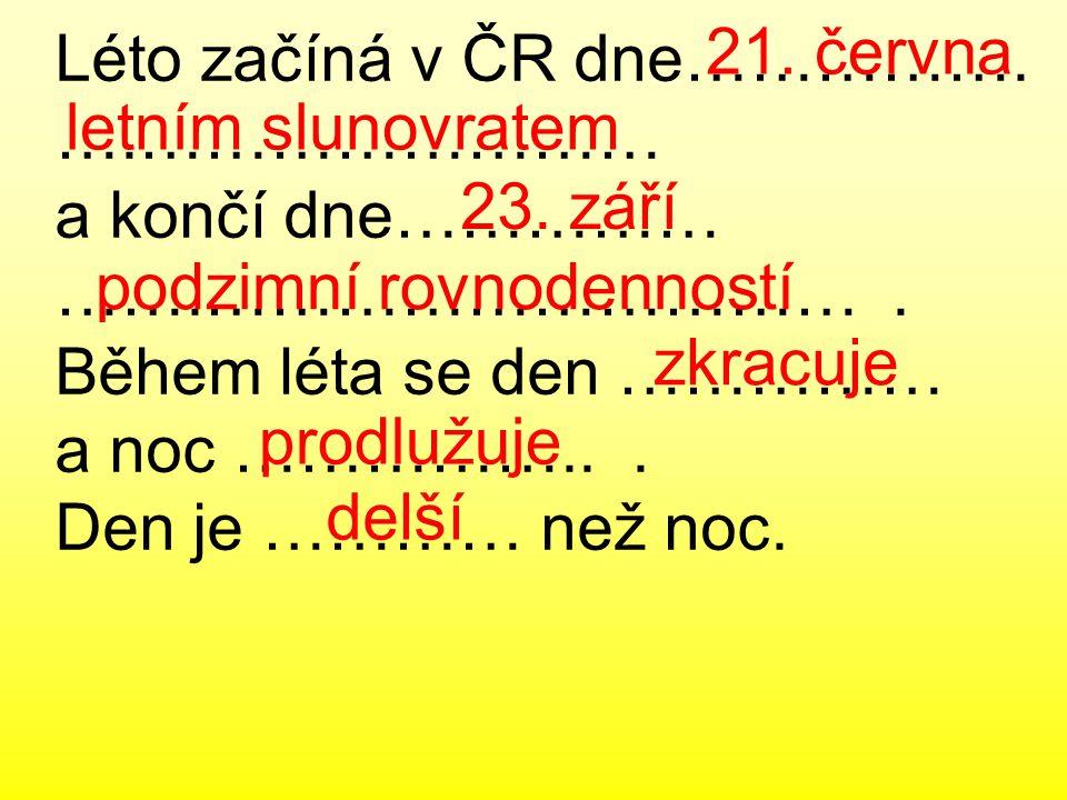 Léto začíná v ČR dne…………….….…………………… a končí dne…………… …….………………………….