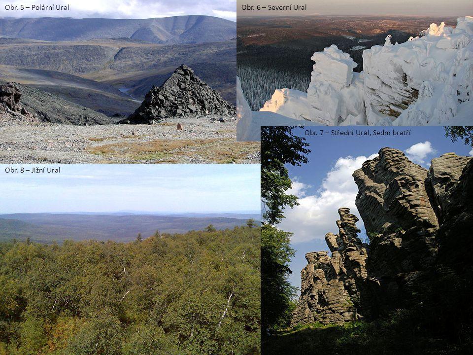 Obr. 5 – Polární UralObr. 6 – Severní Ural Obr. 8 – Jižní Ural Obr. 7 – Střední Ural, Sedm bratří