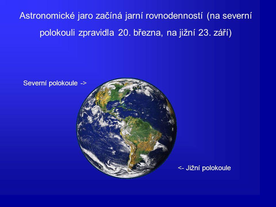 Astronomické jaro začíná jarní rovnodenností (na severní polokouli zpravidla 20.