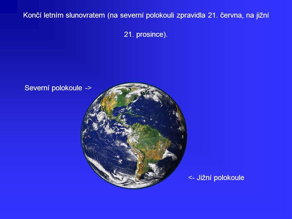 Končí letním slunovratem (na severní polokouli zpravidla 21.