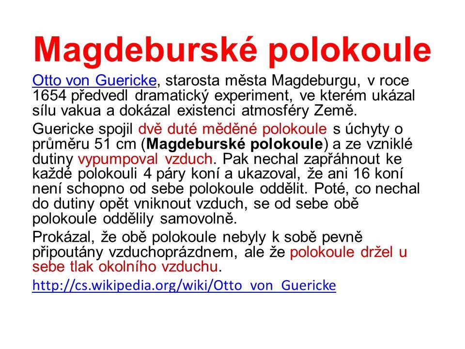 Magdeburské polokoule Otto von GuerickeOtto von Guericke, starosta města Magdeburgu, v roce 1654 předvedl dramatický experiment, ve kterém ukázal sílu vakua a dokázal existenci atmosféry Země.