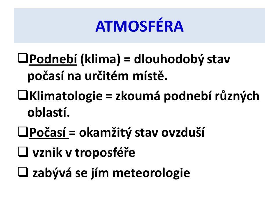 ATMOSFÉRA  Podnebí (klima) = dlouhodobý stav počasí na určitém místě.  Klimatologie = zkoumá podnebí různých oblastí.  Počasí = okamžitý stav ovzdu