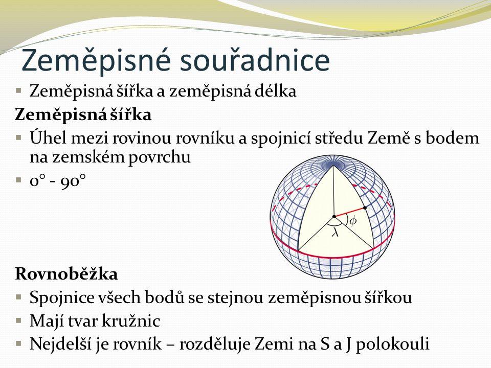 Zeměpisné souřadnice  Zeměpisná šířka a zeměpisná délka Zeměpisná šířka  Úhel mezi rovinou rovníku a spojnicí středu Země s bodem na zemském povrchu  0° - 90° Rovnoběžka  Spojnice všech bodů se stejnou zeměpisnou šířkou  Mají tvar kružnic  Nejdelší je rovník – rozděluje Zemi na S a J polokouli