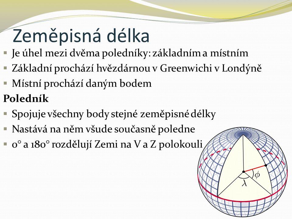 Zeměpisná délka  Je úhel mezi dvěma poledníky: základním a místním  Základní prochází hvězdárnou v Greenwichi v Londýně  Místní prochází daným bode