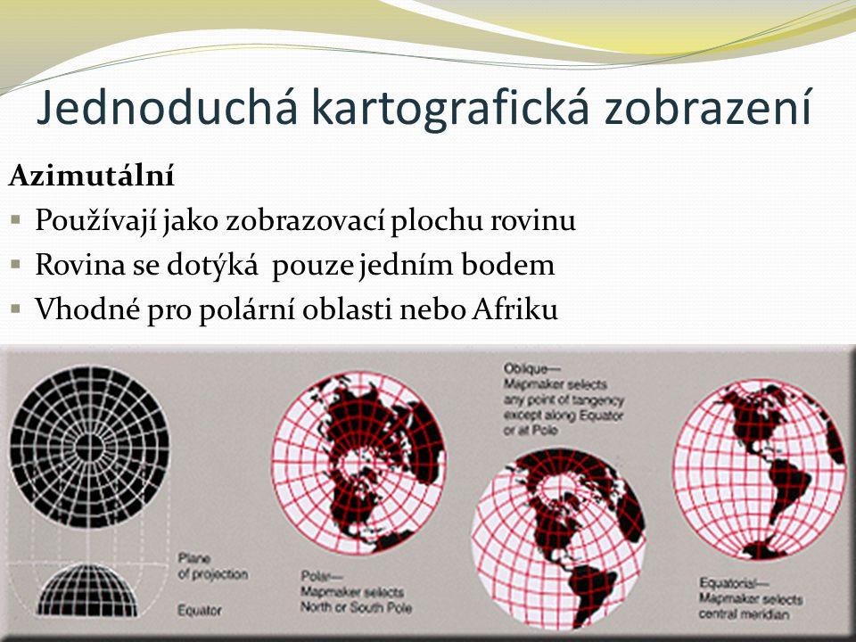Jednoduchá kartografická zobrazení Azimutální  Používají jako zobrazovací plochu rovinu  Rovina se dotýká pouze jedním bodem  Vhodné pro polární ob