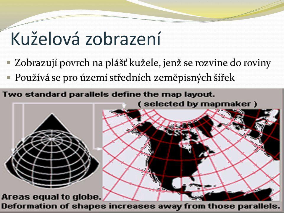 Kuželová zobrazení  Zobrazují povrch na plášť kužele, jenž se rozvine do roviny  Používá se pro území středních zeměpisných šířek