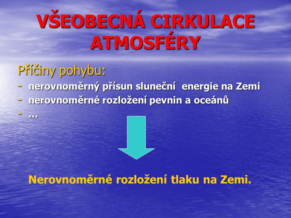VŠEOBECNÁ CIRKULACE ATMOSFÉRY Příčiny pohybu: - nerovnoměrný přísun sluneční energie na Zemi - nerovnoměrné rozložení pevnin a oceánů -…-…-…-… Nerovno