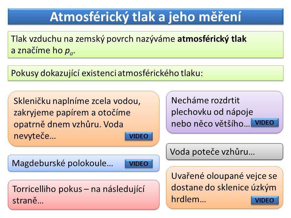 Atmosférický tlak a jeho měření Tlak vzduchu na zemský povrch nazýváme atmosférický tlak a značíme ho p a.