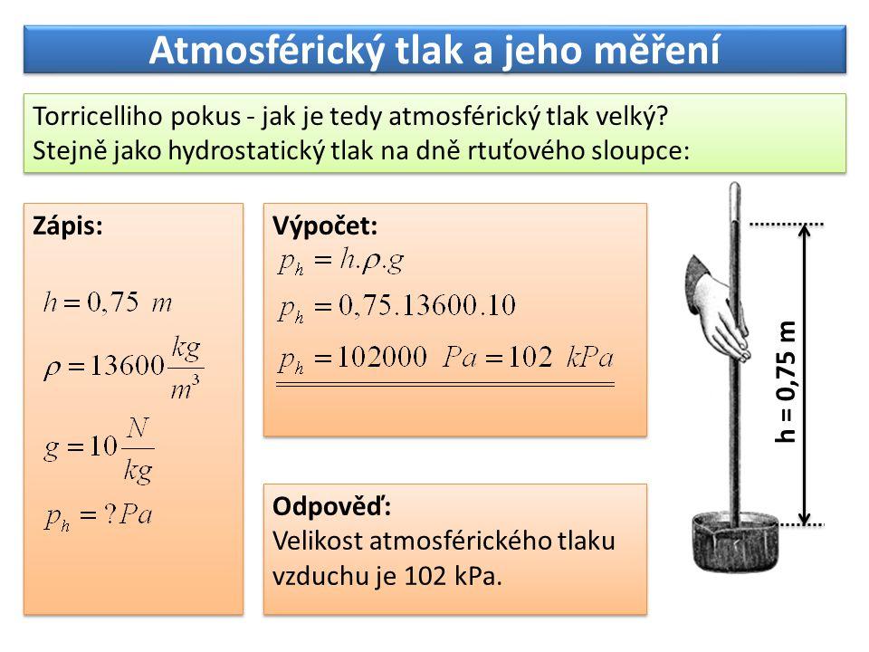 Atmosférický tlak a jeho měření Atmosférický tlak není vždy a všude stejný.