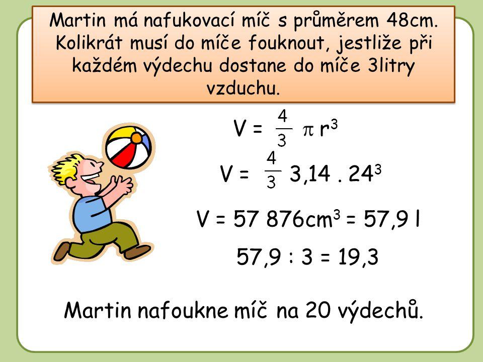 DD Martin má nafukovací míč s průměrem 48cm.