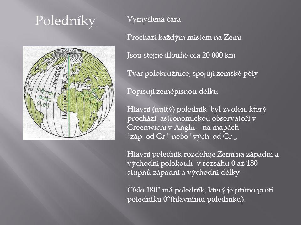 Poledníky Vymyšlená čára Prochází každým místem na Zemi Jsou stejně dlouhé cca 20 000 km Tvar polokružnice, spojují zemské póly Popisují zeměpisnou dé
