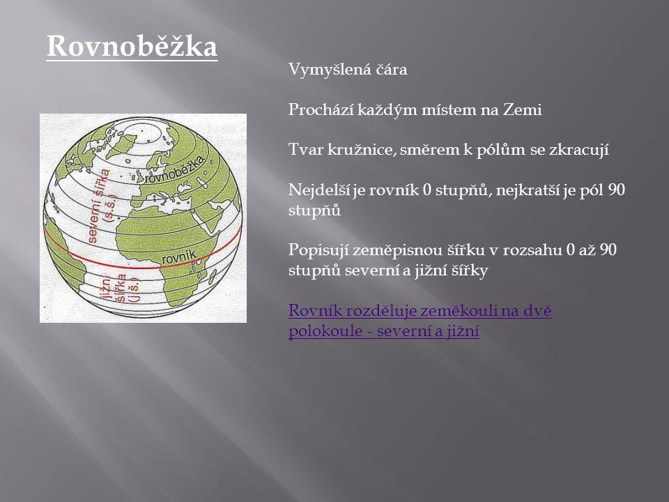 Rovnoběžka Vymyšlená čára Prochází každým místem na Zemi Tvar kružnice, směrem k pólům se zkracují Nejdelší je rovník 0 stupňů, nejkratší je pól 90 st
