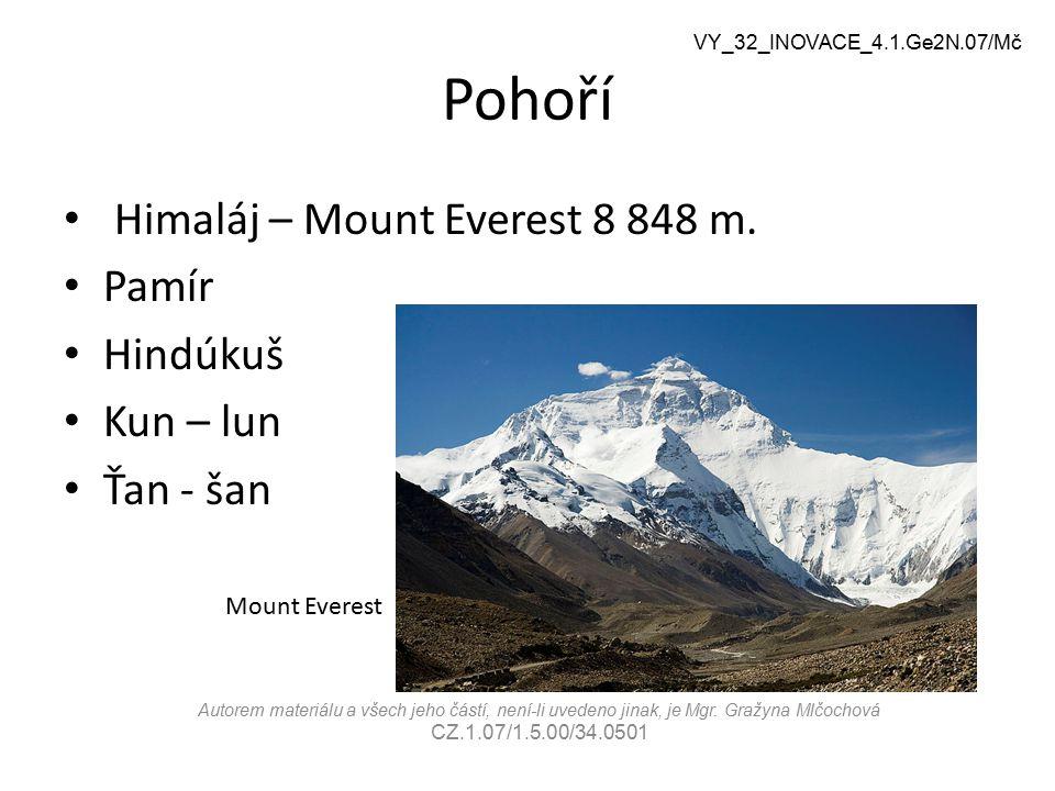 Pohoří Himaláj – Mount Everest 8 848 m. Pamír Hindúkuš Kun – lun Ťan - šan Mount Everest VY_32_INOVACE_4.1.Ge2N.07/Mč