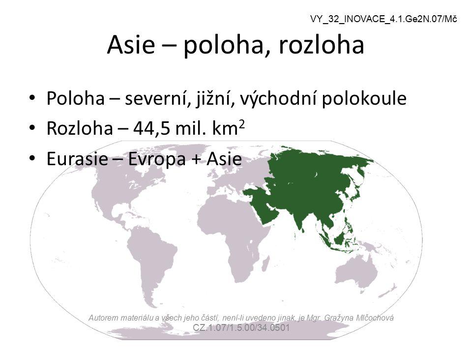 Hranice mezi Evropou a Asií Východní úpatí pohoří Ural Řeka Ural Pobřeží Kaspického moře Severní předhůří Kavkazu Pobřeží Azovského a Černého moře Průlivy Bospor a Dardanely Východní část Egejského moře VY_32_INOVACE_4.1.Ge2N.07/Mč Vyhledejte v atlase Autorem materiálu a všech jeho částí, není-li uvedeno jinak, je Mgr.