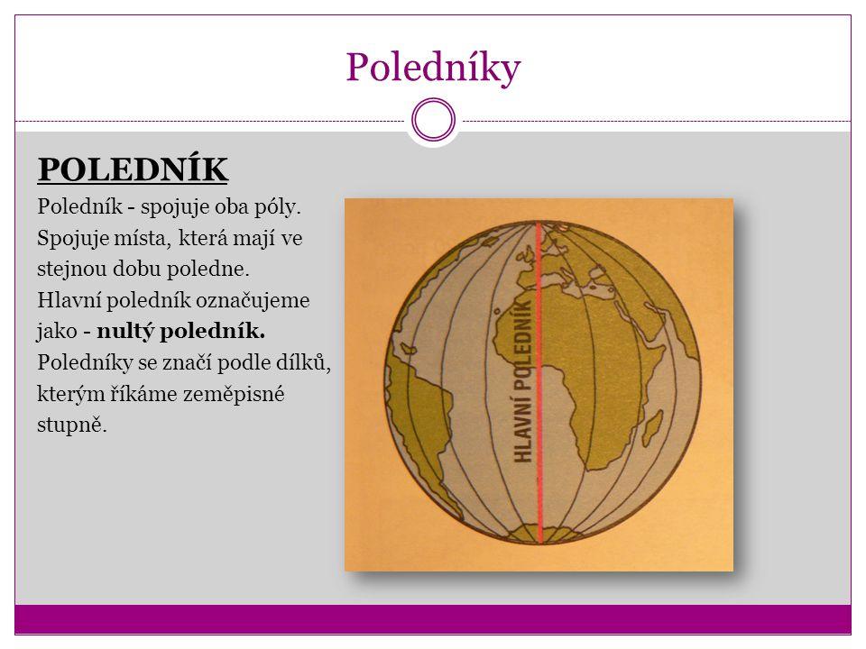 Poledníky POLEDNÍK Poledník - spojuje oba póly. Spojuje místa, která mají ve stejnou dobu poledne. Hlavní poledník označujeme jako - nultý poledník. P