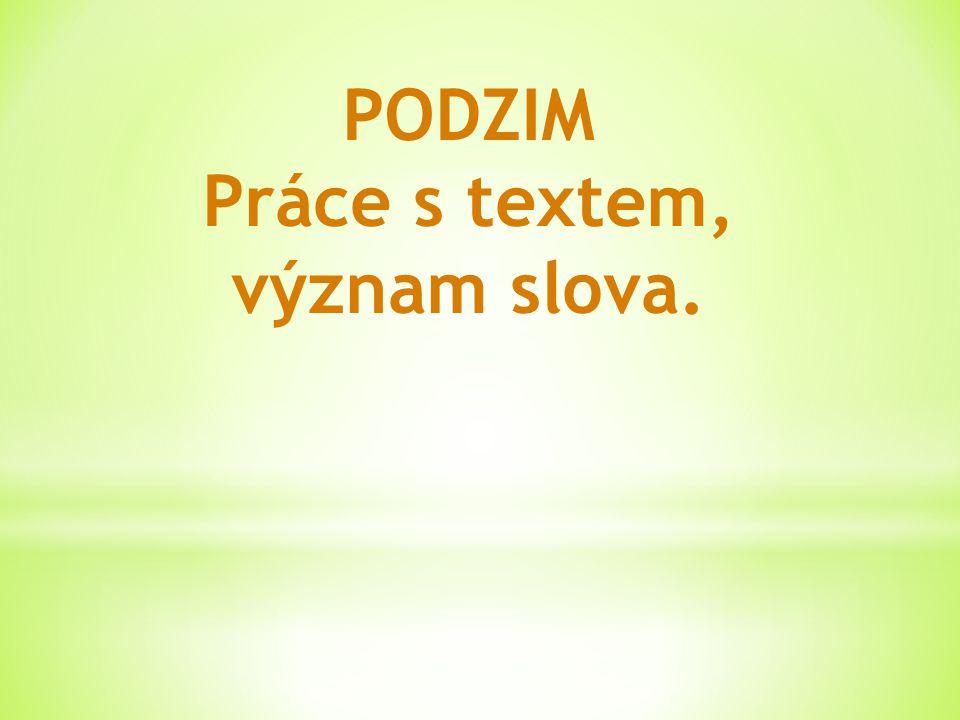PODZIM Práce s textem, význam slova.