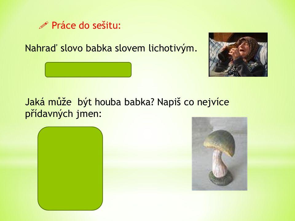 Nahraď slovo babka slovem lichotivým. babička, bábinka Jaká může být houba babka? Napiš co nejvíce přídavných jmen:  Práce do sešitu:  chutná  červ