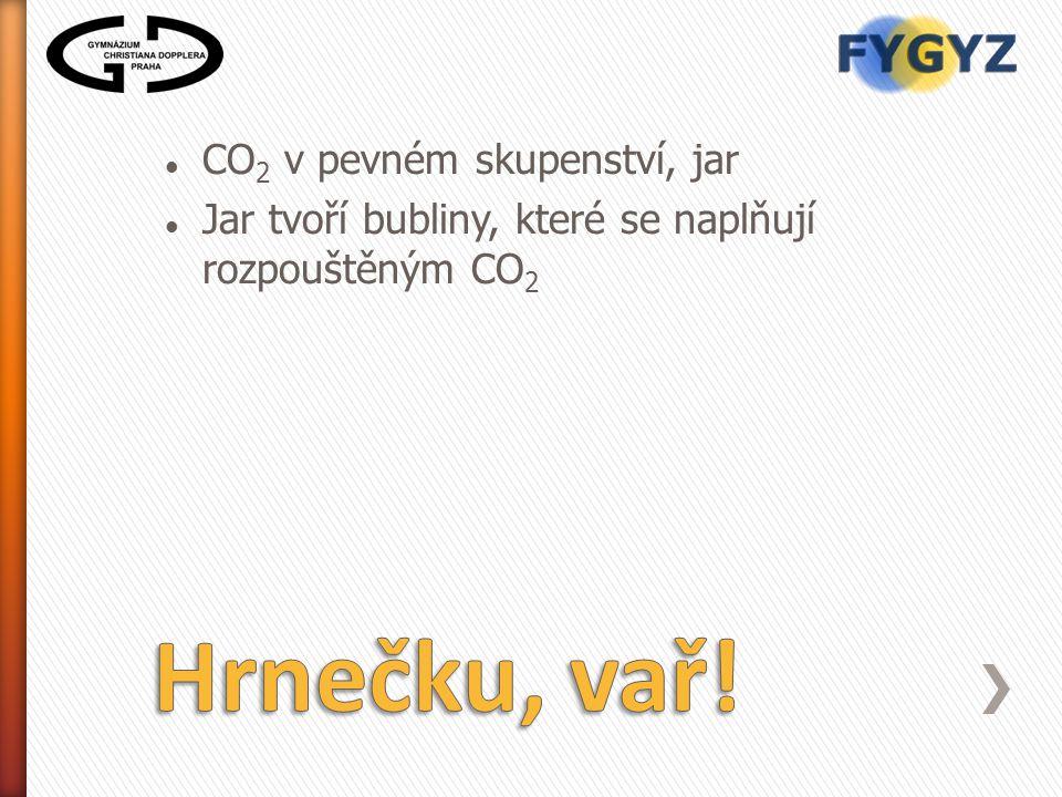 CO 2 v pevném skupenství, jar Jar tvoří bubliny, které se naplňují rozpouštěným CO 2