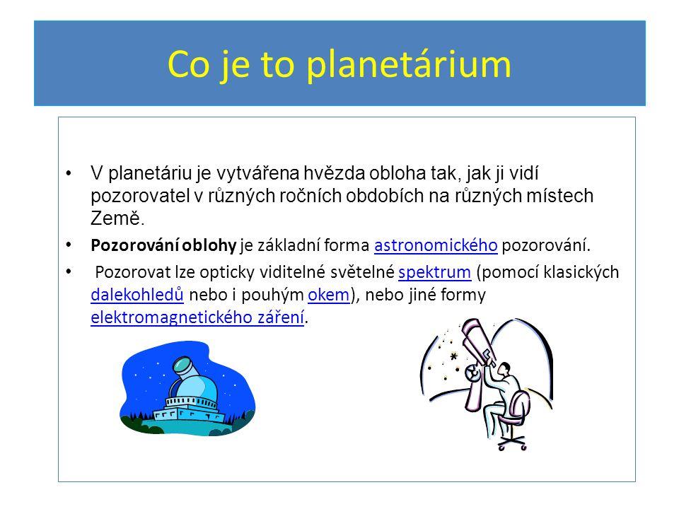 Kde najdeme planetária V Praze, Brně, Ostravě,Českých Budějovicích, Hradci Králové, V Plzni, Mostě, Teplicích.